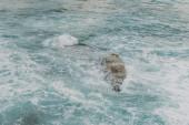 bílá pěna u skály v modré vodě Středozemního moře