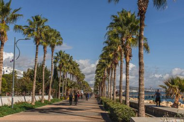 PAPHOS, CYPRUS - MARCH 31, 2020: people walking on promenade alley with palm trees