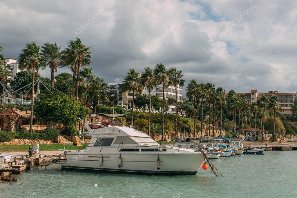 palme vicino a yacht moderni nel Mar Mediterraneo