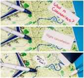 Kollázs játék repülőgép, kártyák, mi a koronavírus, járat törlése, és hol van a maszk közelében útlevél a térképen a kék háttér