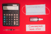 Top view of medical mask, calculator near syringe and card with coronavirus 2019-nCov lettering on red background