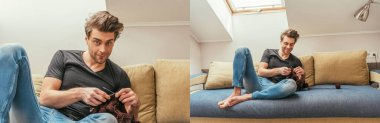 collage of handsome, positive man knitting on sofa at home in attic room, panoramic crop