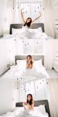 koláž se šťastnou ženou protahování a držení šálek kávy při sezení v posteli v dopoledních hodinách během vlastní izolace