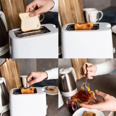 Collage of man using toaster while making toasts with jam in kitchen stock vector