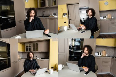 Collage of handsome man using laptop and credit card in kitchen