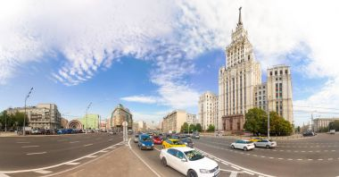 180 panoramic view of the Red Gate Building and Garden-Spasskaya