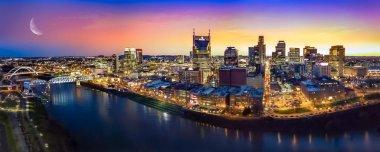 Nashville skyline with moon