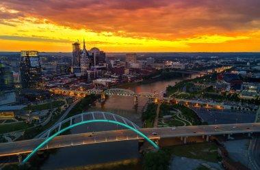 Nashville skyline with bridge