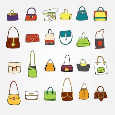 set of vector handbags