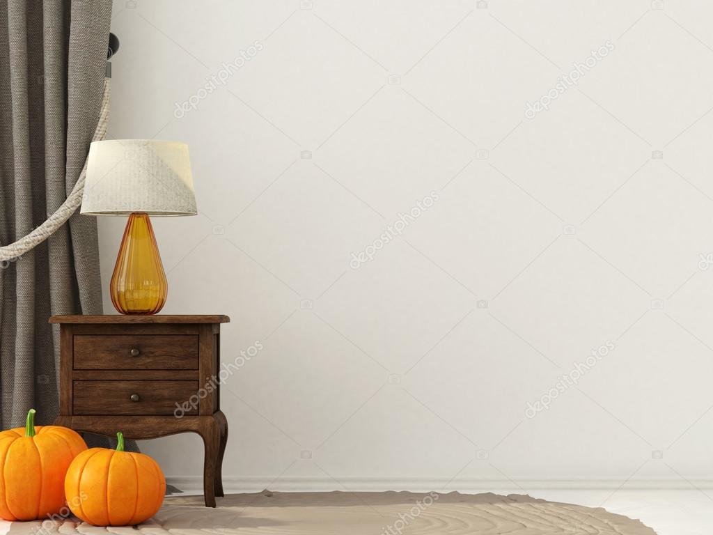 Interieur decoratie voor halloween met houten nachtkastje
