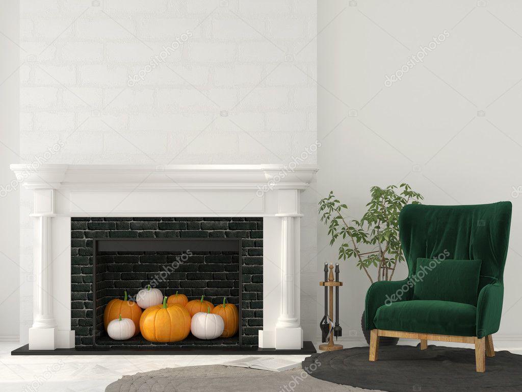 dcoration pour halloween chemine classique avec citrouilles lintrieur et fauteuil vert image de jzhuk