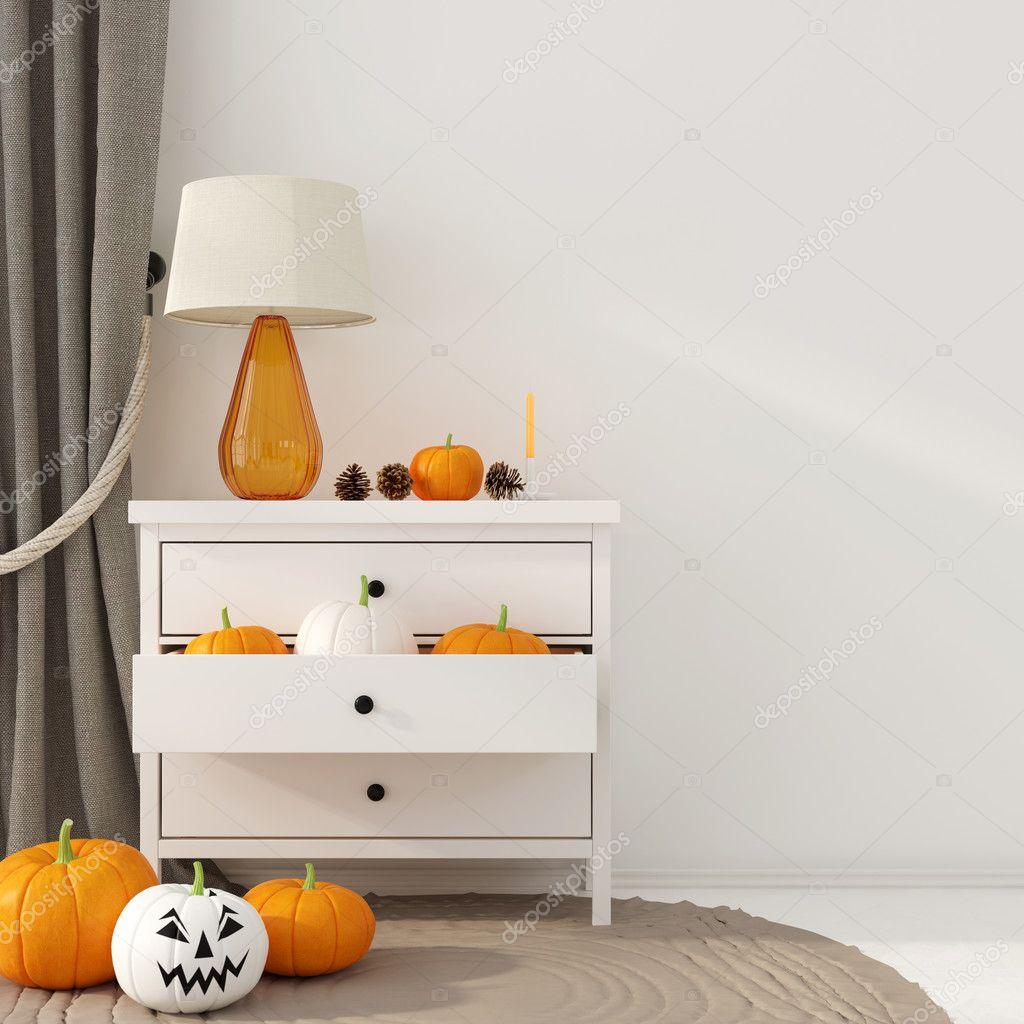 Dekoration Fur Halloween Mit Weisse Kommode Stockfoto C Jzhuk