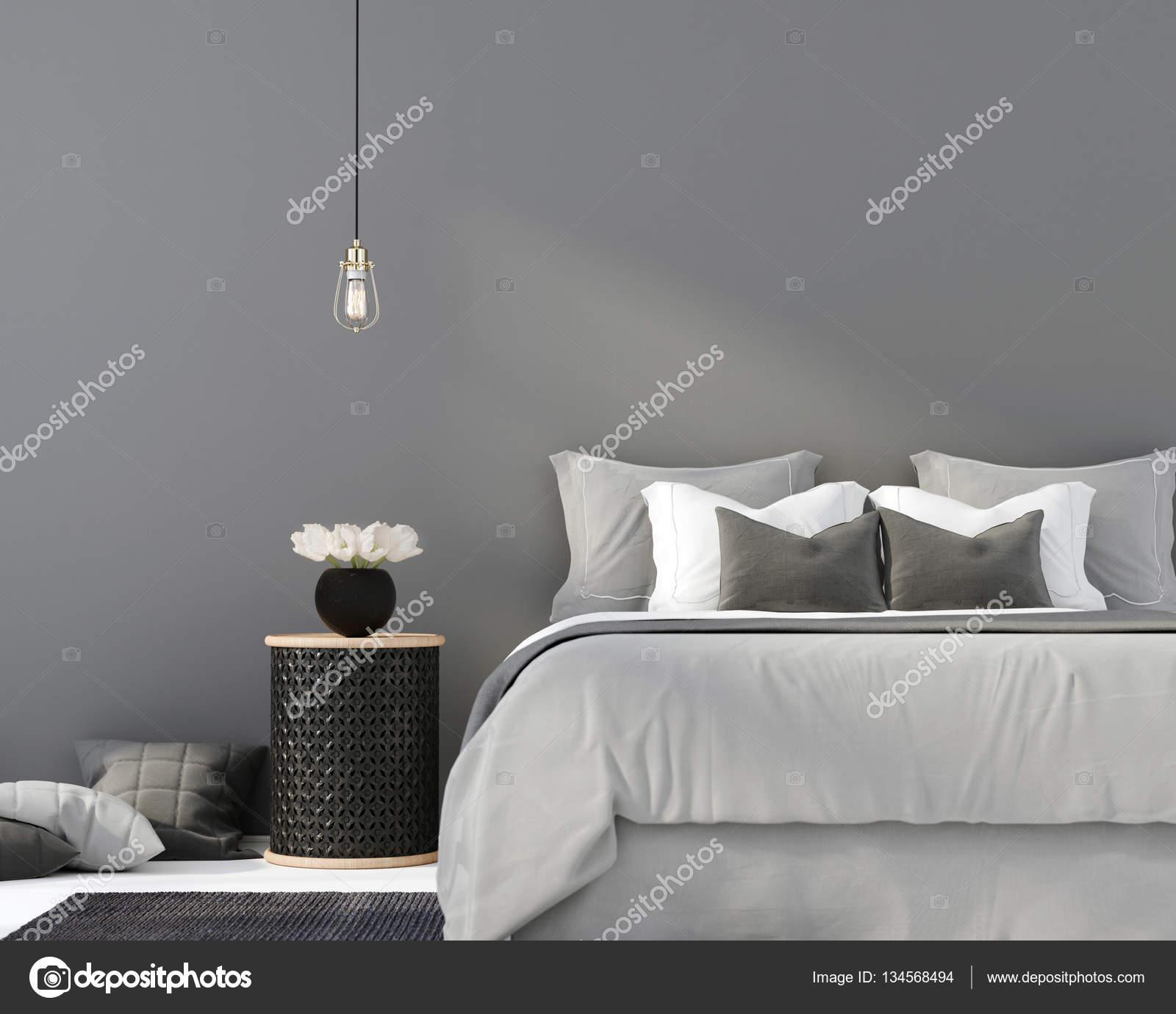 Grijze slaapkamer met een houten tafel — Stockfoto © JZhuk #134568494