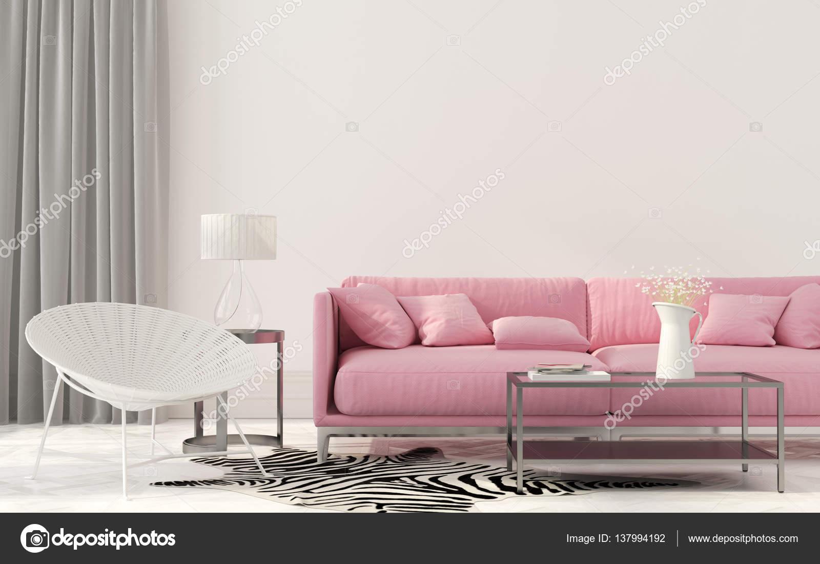 Woonkamer met een roze Bank — Stockfoto © JZhuk #137994192