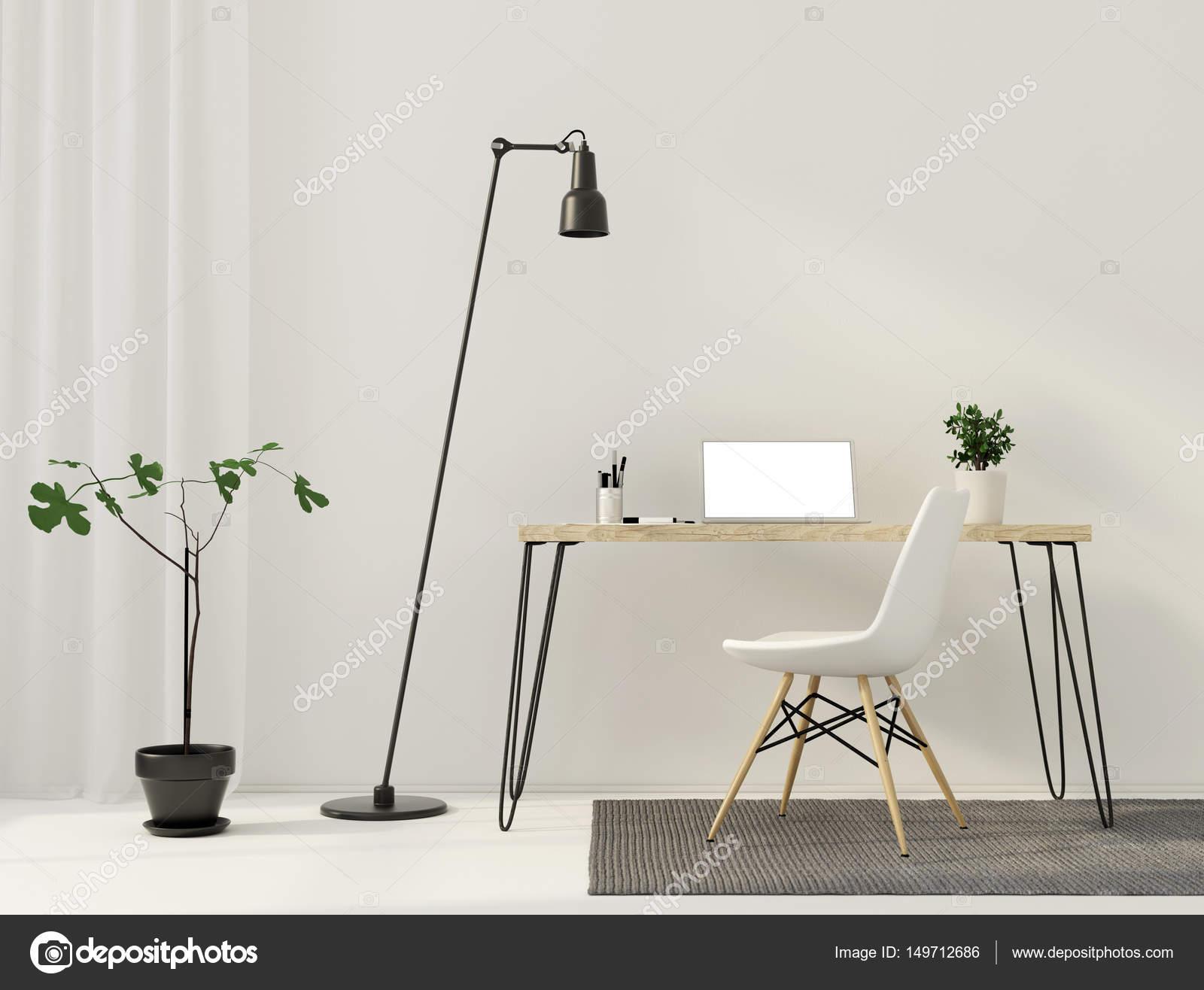 Minimalistische interieur van werkplek u stockfoto jzhuk