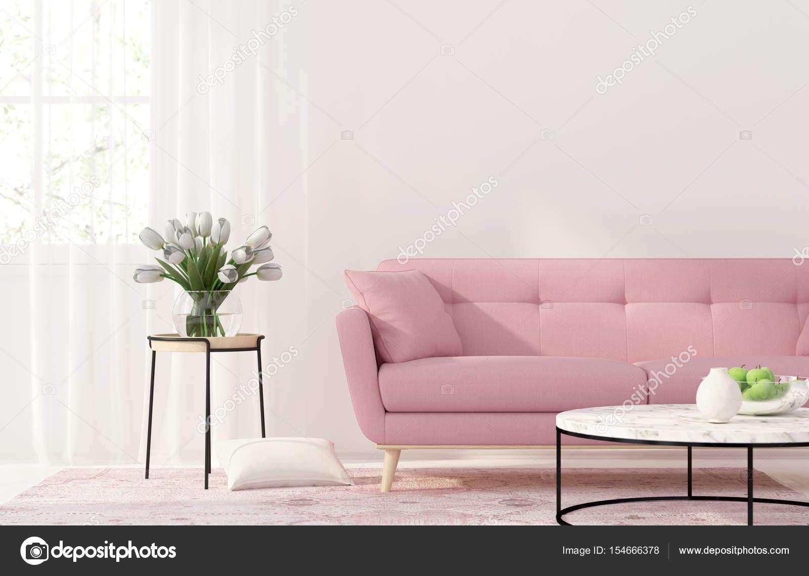 Woonkamer met een roze Bank — Stockfoto © JZhuk #154666378