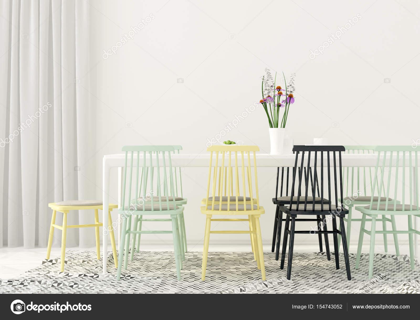 Esszimmer Mit Farbigen Stuhle Stockfoto C Jzhuk 154743052