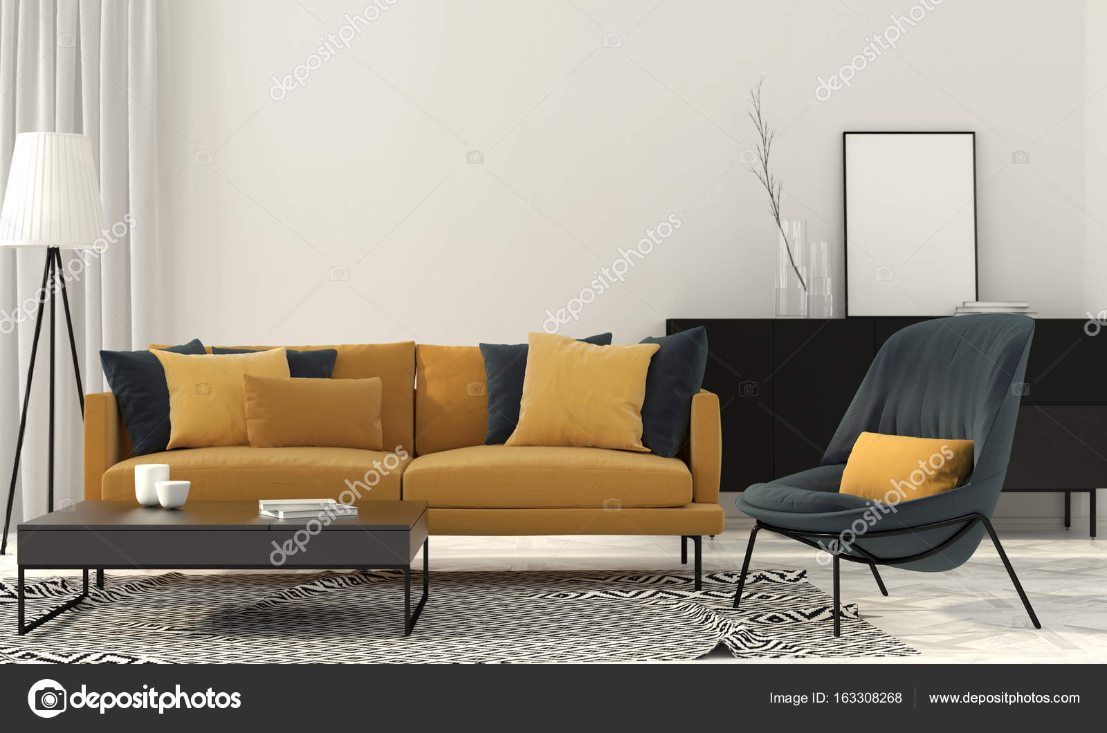 Stijlvolle woonkamer met een gele Bank — Stockfoto © JZhuk #163308268