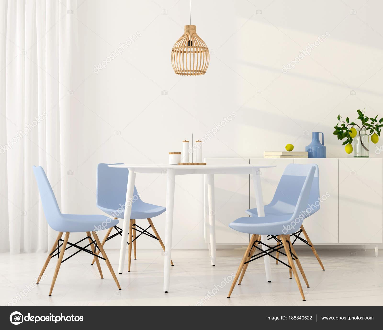 Blauwe Design Stoelen.Lichte Eetkamer Met Blauwe Stoelen Stockfoto C Jzhuk 188840522