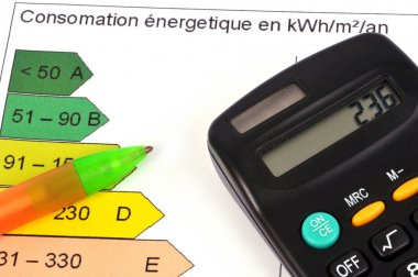 Calculator and pen on an energy performance graph