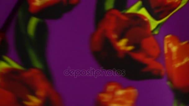 texturu látky s květinovým vzorem se pohybuje v pomalém pohybu