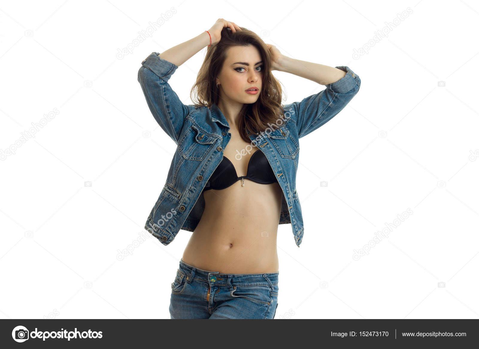в лифчике джинсах и секс фото