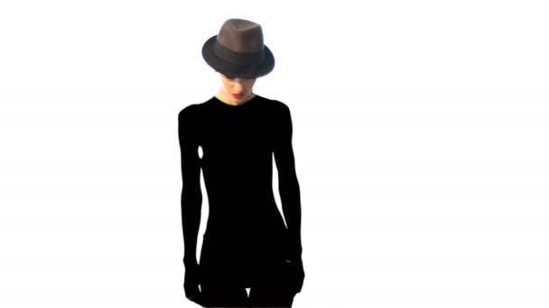 Rozkošná dáma v klobouku s tmavě černý stín na její tělo