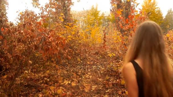 dívka v černých šatech chodí na zlaté podzimní les