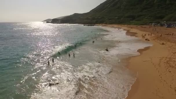 People Playing Surfing Waves Crashing North Shore Pacific Ocean Oahu
