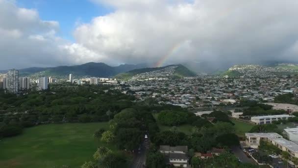 Hawaii Honolulu szivárvány Arch Oahu szigetén vihar elszámolási