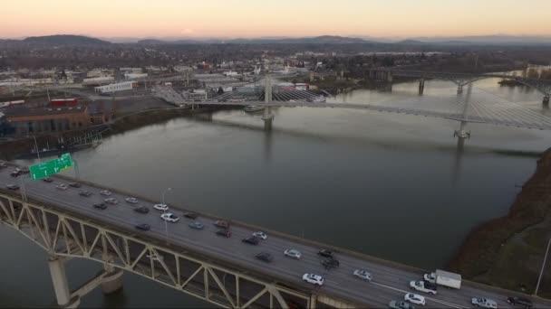 Interstate 5 Willamette řeky Portland Oregon Waterfront City Panorama