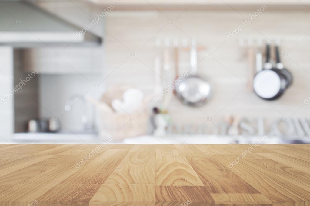 Madera mesa con desenfoque de fondo de cocina, mesa de madera de ...