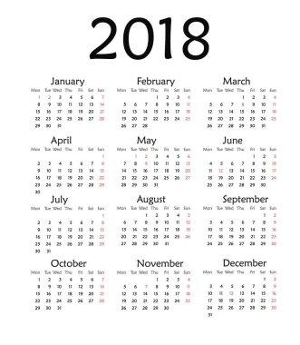 Simple calendar for 2018 year .