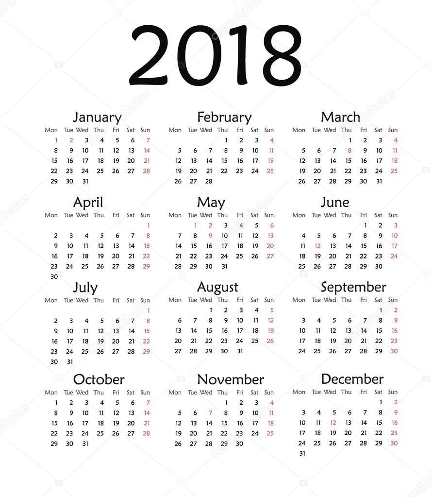 simple calendar for 2018 year stock photo