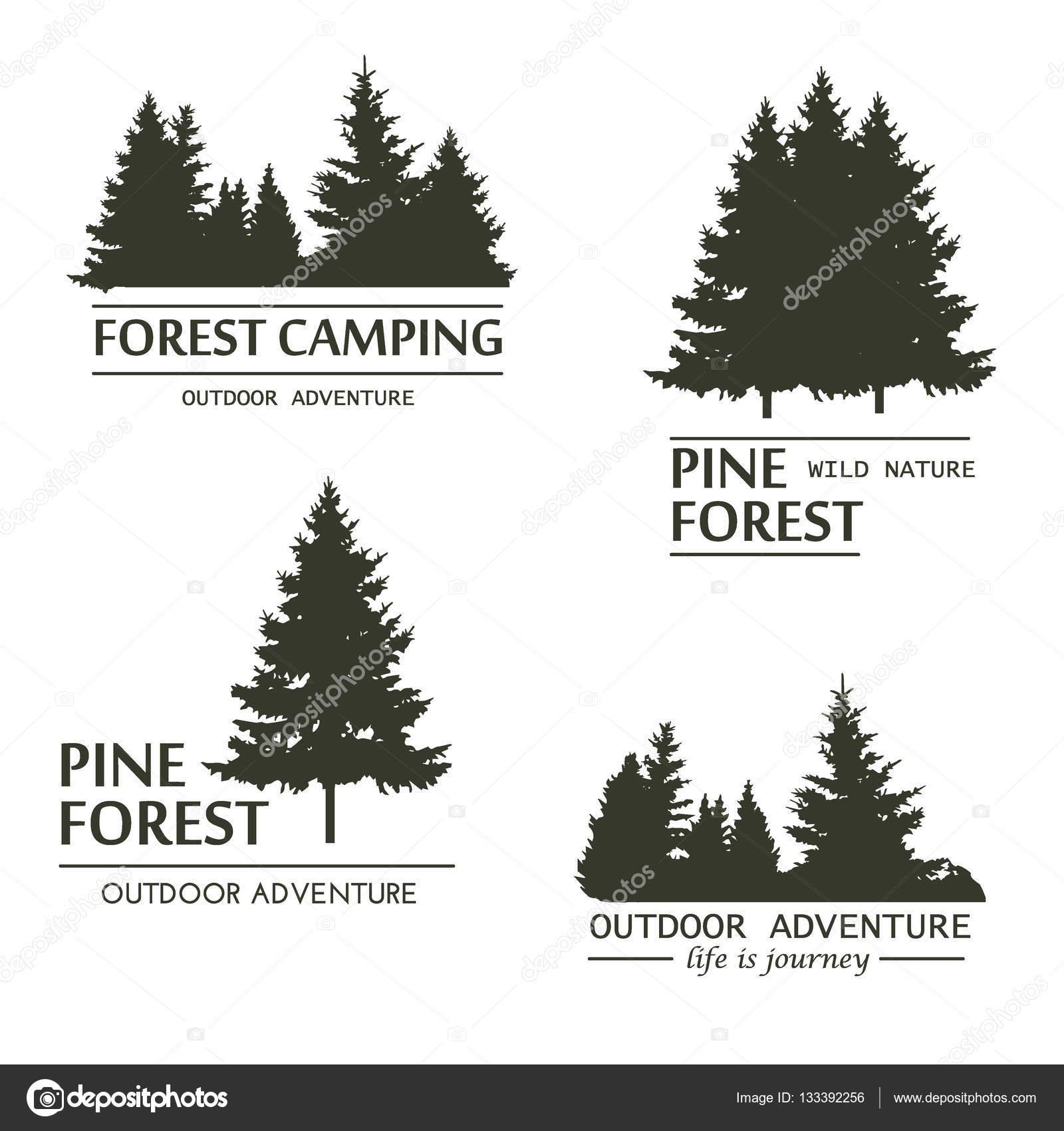 Vector de silueta de bosque de árbol de pino — Archivo Imágenes ...