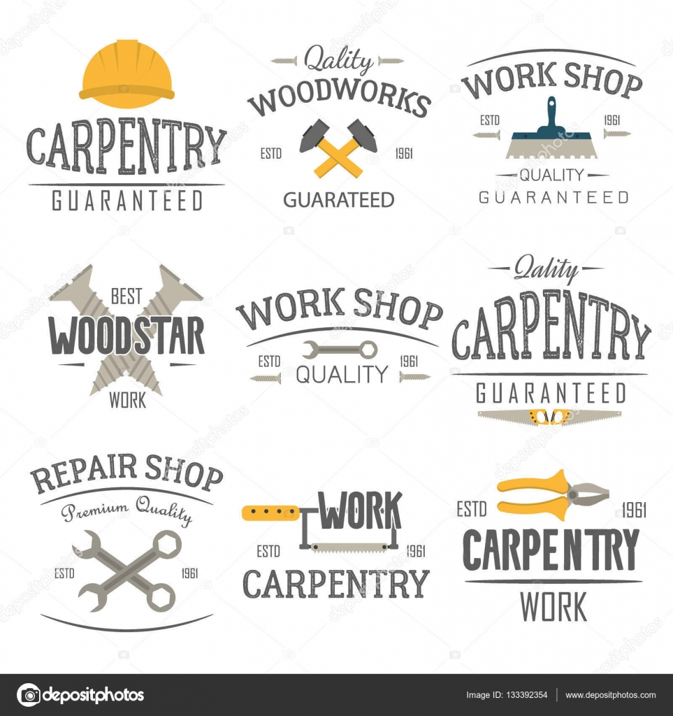 carpentry and construction tools emblems u2014 stock vector