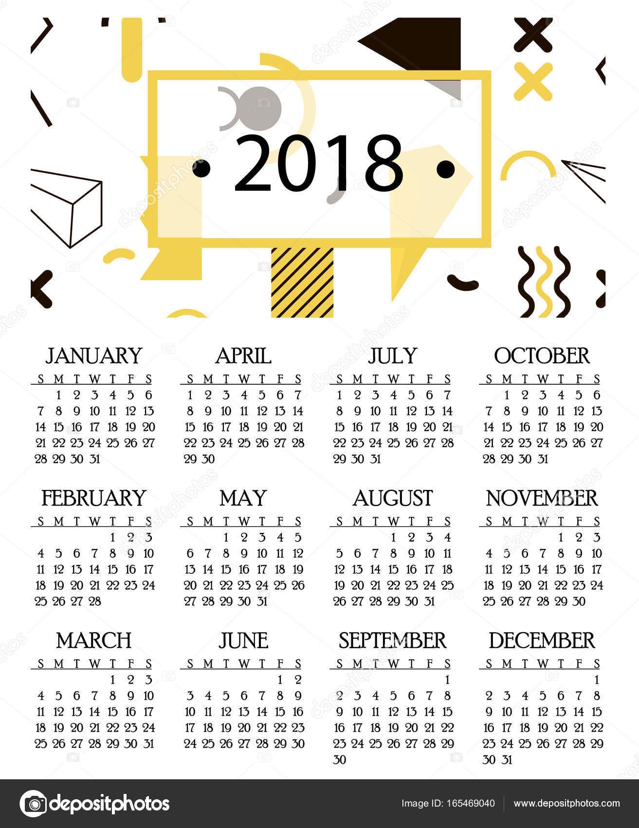 Simple calendario para 2018 y 2019, 2020 años plantilla fecha día ...
