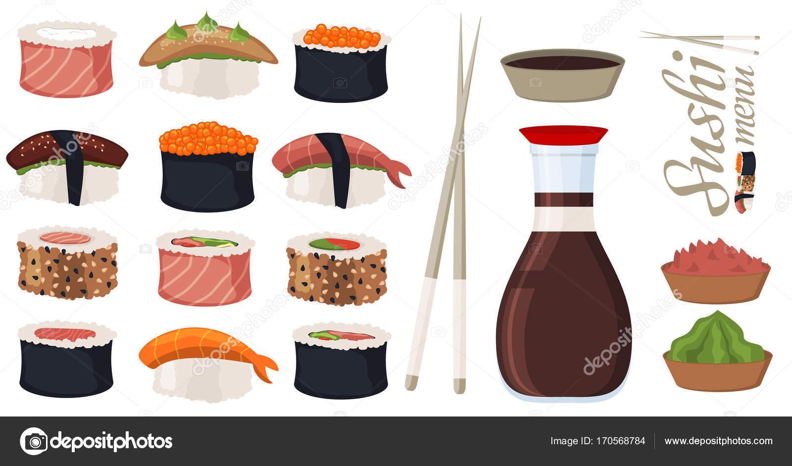 Sushi-Rollen Set Sashimi Meeresfrüchte Fisch Reis japanisches Essen ...