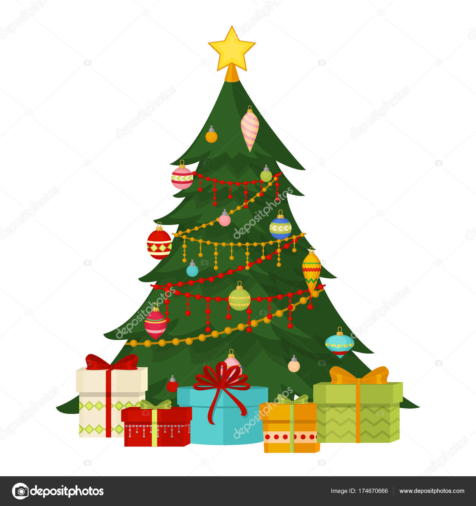 Christmas Tree With Fir Gifts Balls Lights Winter Holiday Gift Card