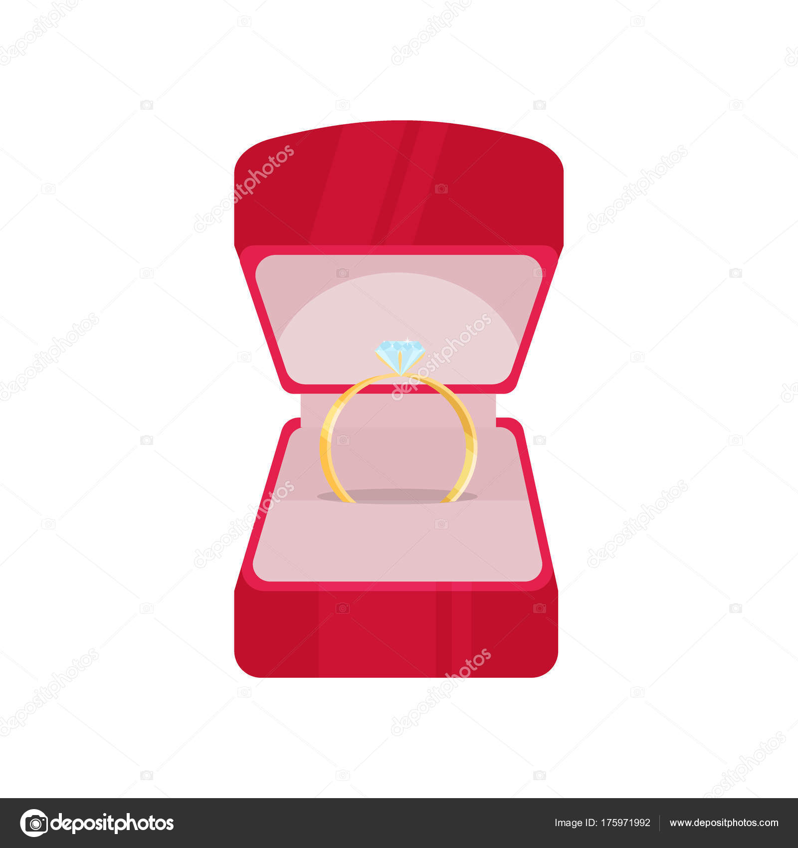 Wedding ring in red box with diamond love marriage celebration ...