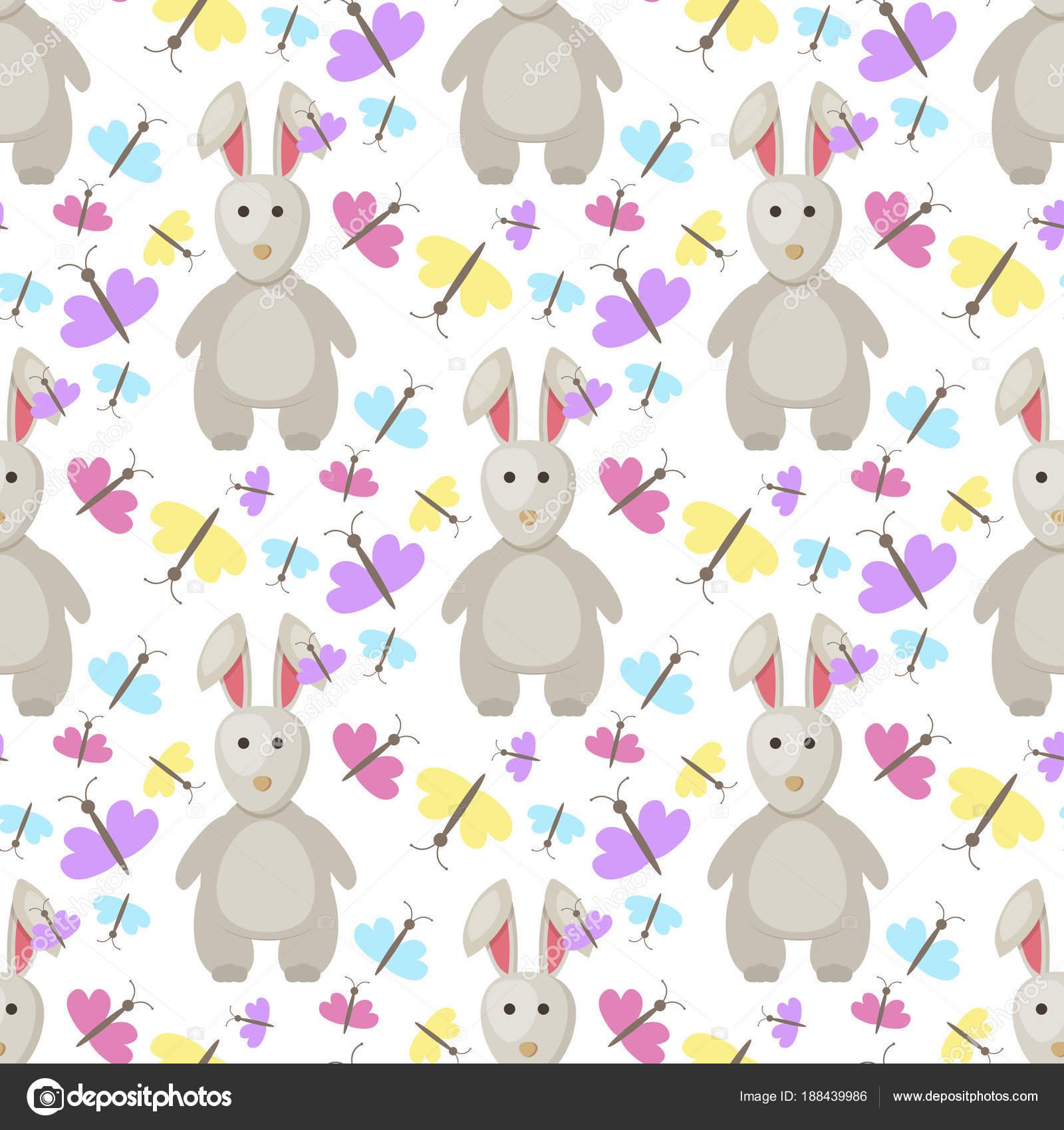 Conejo de Pascua conejito vector de dibujos animados patrón ...