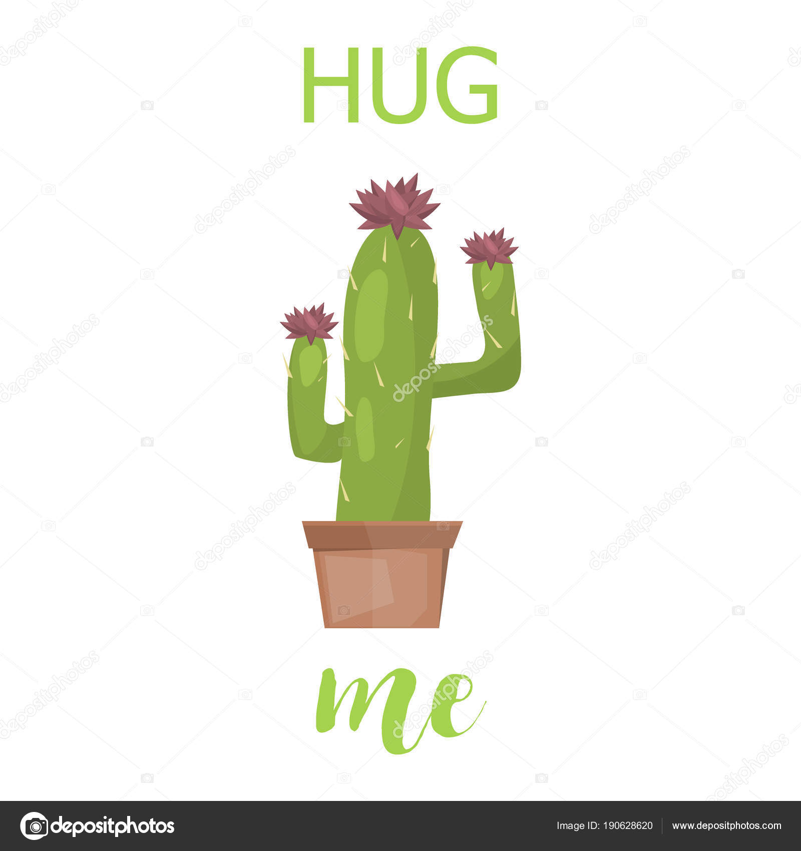 cactus card cute creative vector lettering template with cacti