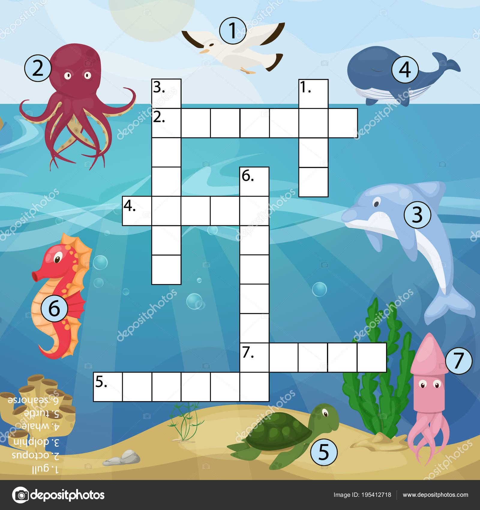 Crossword kids magazine book puzzle game of sea underwater ocean ...