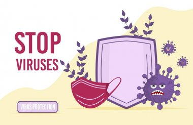 Stop Virus concept vector illustration. Shield and mask protection