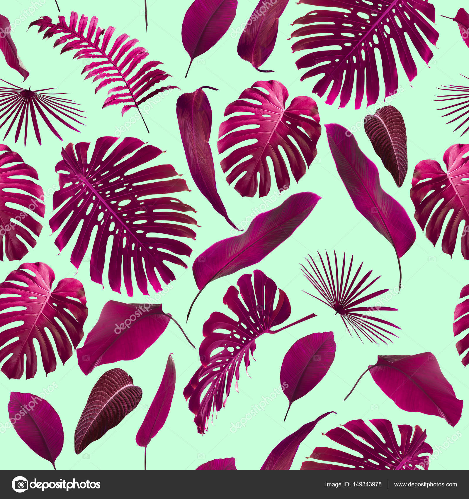 seamless tropical jungle leaves pattern stock photo piolka