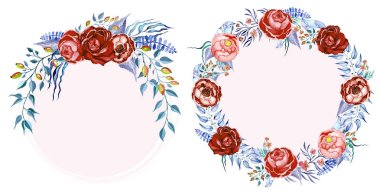 Hand drawn watercolor roses clip art