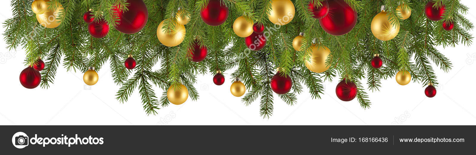 Christmas Garland With Ornaments Isolated Stock Photo C Piolka