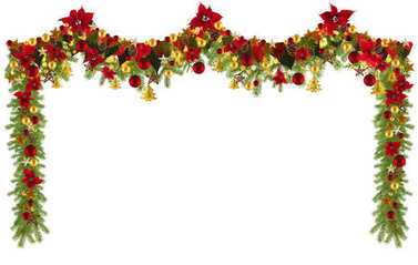 Christmas garland background with golden stars and poinsetta