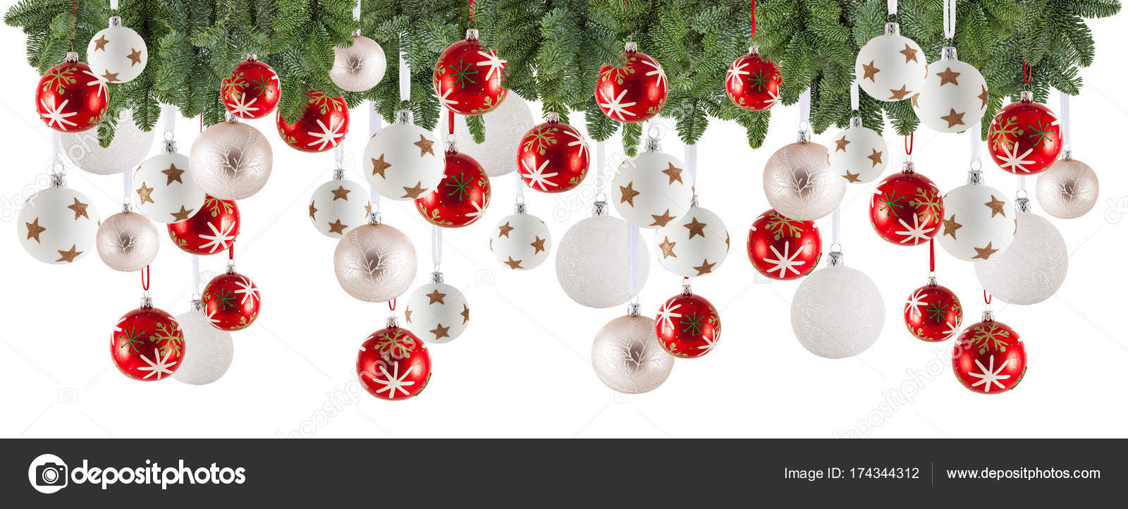 Christmas Garland Background With Ornaments Christmas Baubles