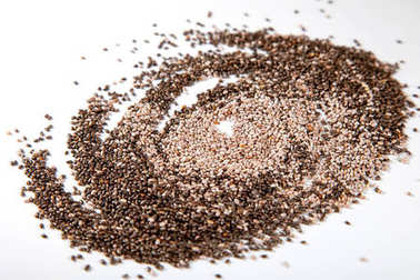 2 kinds of Chia seeds on white background